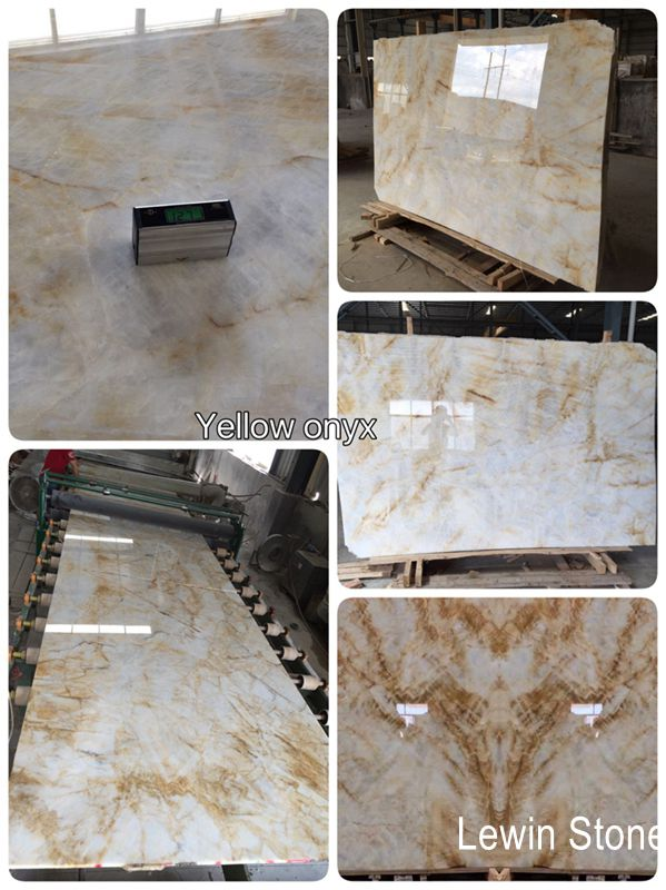 Golden Onyx polished marble slab