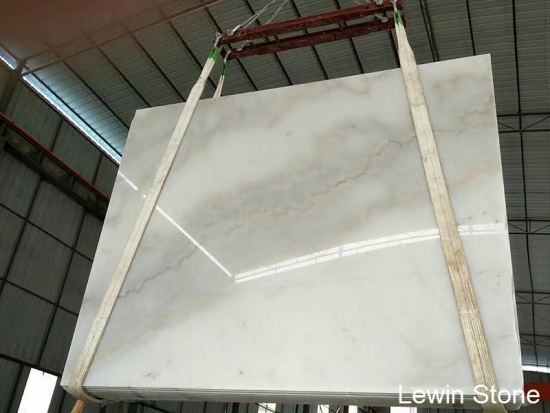 China white polished marble slab