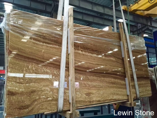 China Wooden Yellow polished marble slab